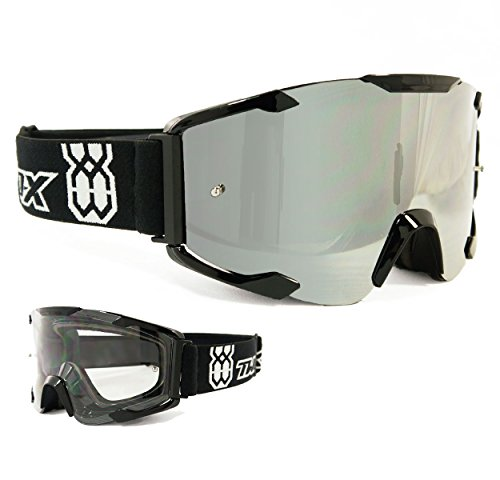 TWO-X Bomb Crossbrille schwarz Glas verspiegelt silber - MX Brille Motocross Enduro Spiegelglas Motorradbrille Anti Scratch MX Schutzbrille