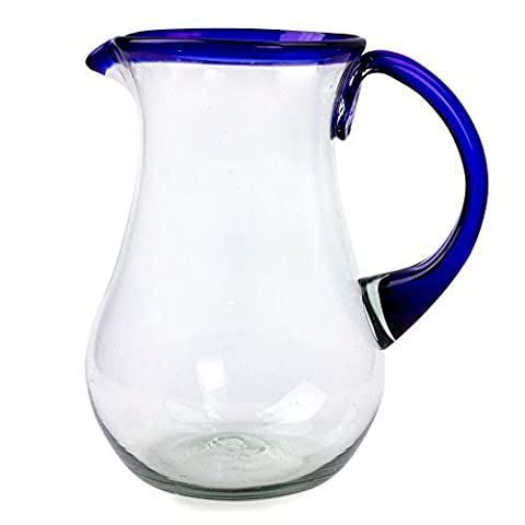 NOVICA Artisan Crafted Blue Accent Clear Glass Recycled Hand Blown Pitcher From Mexico, 82 oz, 'Blue Grace' by NOVICA