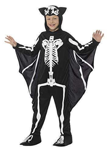 Smiffys, Kinder Unisex Fledermaus Skelett Kostüm, Bodysuit mit Kapuze und Flügeln, Alter: 7-9 Jahre, - Fledermaus Flügel Kostüm Zubehör