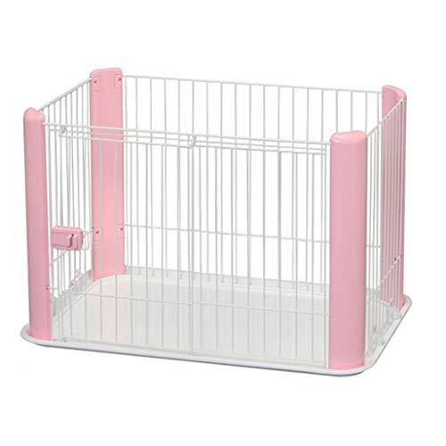 SuRose Kleines Haustier Hund Laufstall Faltbare Übung Stift Metall Hof Zaun/Portable für Outdoor-Reisen Camping 4 Panel (Farbe: Pink) -