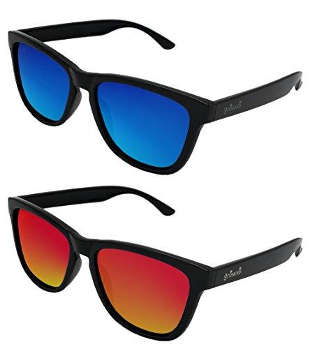 Pack 2 Gafas de Sol Polarizadas Hombre Mujer - Moda Sport y Fashion - Lentes 1.1 mm (Azul) … (Blacky Azul - Red, 45)
