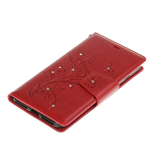 iPhone 7 Plus Custodia, iPhone 7 Plus Cover, JAWSEU Apple iPhone 7 Plus 5.5 Custodia Cover Lusso Liscio Puro Pell Wallet Pouch Custodia per Apple iPhone 7 Plus Telefono Custodia [Shock-Absorption] con Farfalla Diamante, Rosso