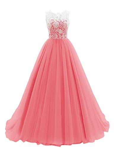 Dresstells Damen Elegant Brautjungfernkleid Ballkleid Lang Tüll Hochzeitskleid DTH90037 Koralle...