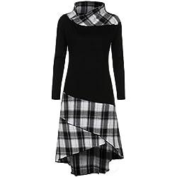 IMJONO Mujer Elegante De Manga Larga Estampado Vintage Manga Larga Tops Largo Sudadera Vestidos Dress Vestido de patchwork de cuadros de cuello alto (Negro, S)