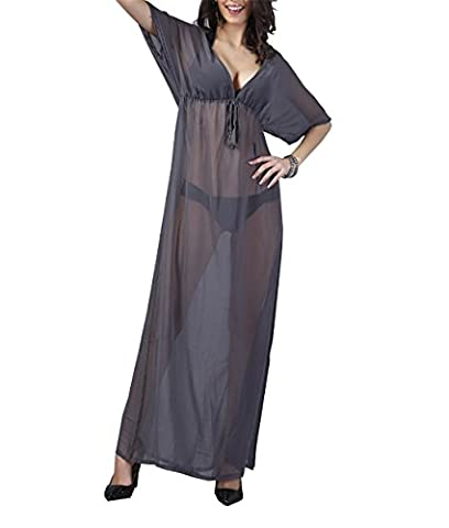 STA Sexy Long Grey See Through Sheer Kaftan Cover Up Maxi Beach Dress Swimwear (Grey)