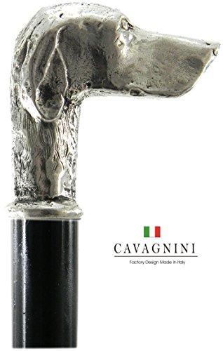 (Spazierstock, Hund poenter massiv Massivholz Zinn Gehstock Silber Farbe Holz elegant alten Vintage italy für die Freiheit für einen Mann eine Frau Cavagnini)
