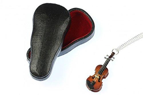 Geigen Kette Geigenkette Halskette Miniblings Violine Geige Holz 60cm +Box Musik
