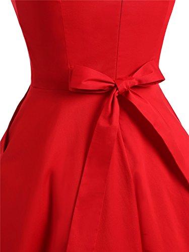 IVNIS Damen Vintage Rockabilly Semi Feste Gürtel Kleider Swing V Ausschnitt Kleid mit Taschen Red