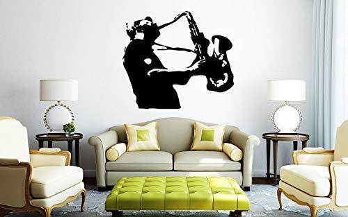 EricauBird Wandtattoo/Wandaufkleber, Vinyl, 72 Stück, Motiv Saxophon, Musik, Live Instrument Jazz, Jazzman Songs, einfach anzubringen und zu entfernen
