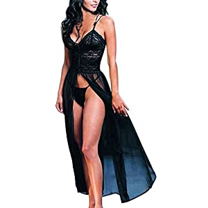 Dream Garden Women's Elegant Sexy Lingerie Retro Lace Dress Gown Bath Babydoll Casual Sleepwear