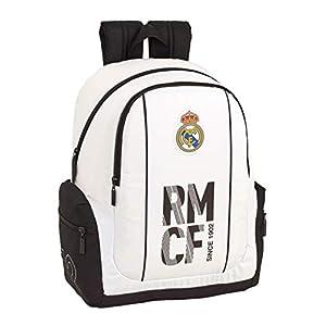 41%2BKWW98BKL. SS300  - Real Madrid CF 611854662 Mochila Adaptable a Carro, Niños, Blanco, 43 cm
