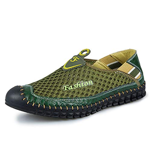 JYJM Freizeitschuhe Atmungsaktive Herren Mesh Outdoor Sneakers Schuhe Herren Slipper Mode Flach Low-Top-Schuhe Turnschuhe rutschfest Bequeme Strandschuhe -