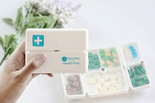 Preisvergleich Produktbild brandy jackson q Square Weekly Travel Medicine Box Portable Pill Organiser Box Pill Dispenser 7 Lattices(Sky Blue)