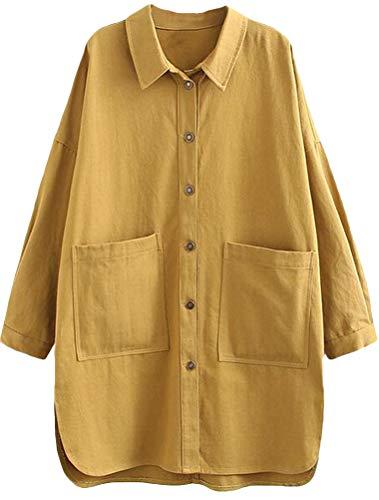 Mallimoda Damen Blusen Langarm Hemd Freizeit Oberteil Locker Shirts mit Taschen Gelb M (Gelb Voll Bettwäsche)