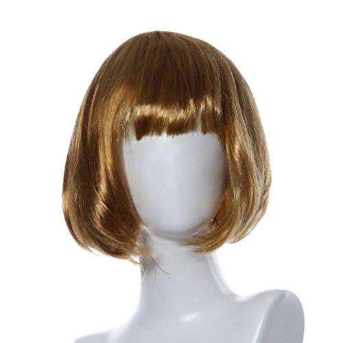 FNKDOR Masquerade Kleine Roll Bang Kurze Glatte Haare Perücke Haarteile (Gold)
