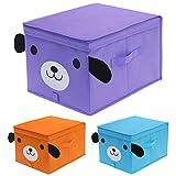 homyfort Set di 3 Toy Chest portatutto, Grande Pieghevole Scatola di Immagazzinaggio per Bambini, con Coperchio, Robusto Contenitore per Giocattoli, 30 x 40 x 25 cm, 3 Colori, XDGLB03P