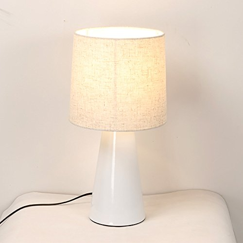 Moderne europäische stil lampe Eisen material tuch abdeckung lampe Hotelzimmer wohnzimmer nachttischlampe Drei farben auswahl (Color : White) - Metallic-yoyo
