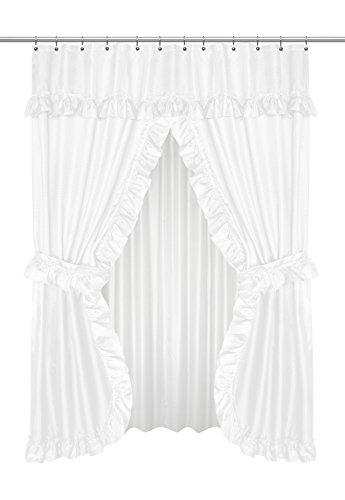 "Carnation Home /""Lauren/"" Double Swag Shower Curtain Black"