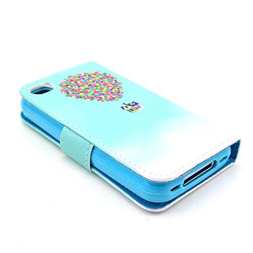 MOONCASE iPhone 4 Case Motif Conception Coque en Cuir Portefeuille Housse de Protection Étui à rabat Case pour iPhone 4 4S P47