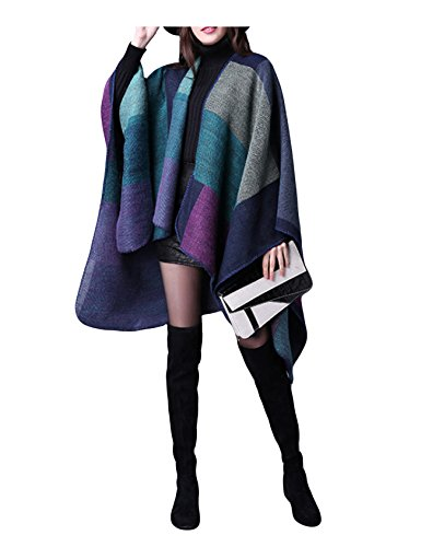 Letuwj Femme Poncho Cape Tricot Point+Rouge