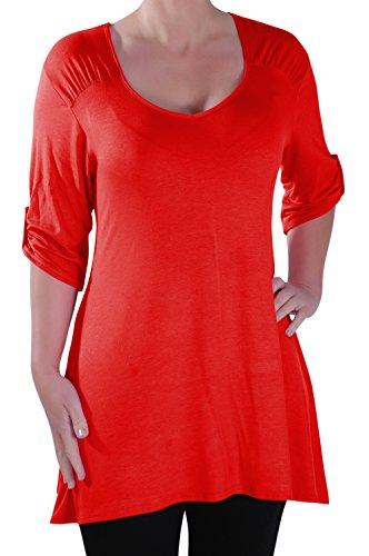 Eyecatch - Stella Aux Femmes À Encolure Dégagée Tunique Grande Taille Dames T-Shirt Chemisier Rouge