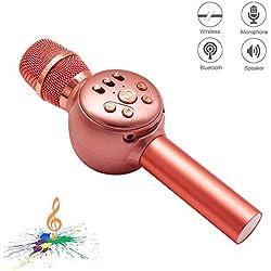 Microfono inalambrico karaoke Bluetooth, NINE CUBE 3-en-1 microfono de karaoke portatil de mano, altavoces de karaoke, regalos para amigos y ninos, compatible con iPhone, Android, PC, etc.(Oro rosa)