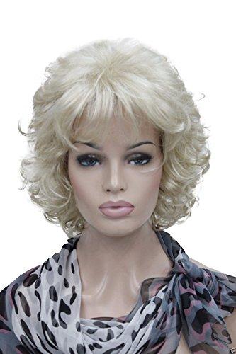 Kalyss Kurz Blonde Lockig Locken Perücke Qualitativ Hochwertige Kunsthaarperücke Curly Kinky Wig (Blonde Lockige Halloween Perücken)