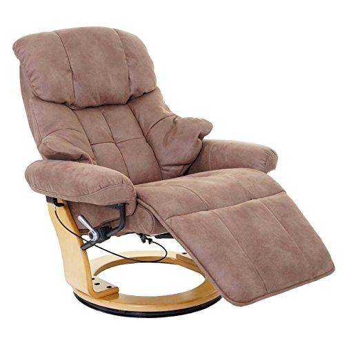 Robas Lund MCA Relaxsessel Calgary 2, Fernsehsessel Sessel, Stoff/Textil 150kg belastbar ~ antikbraun, naturbraun