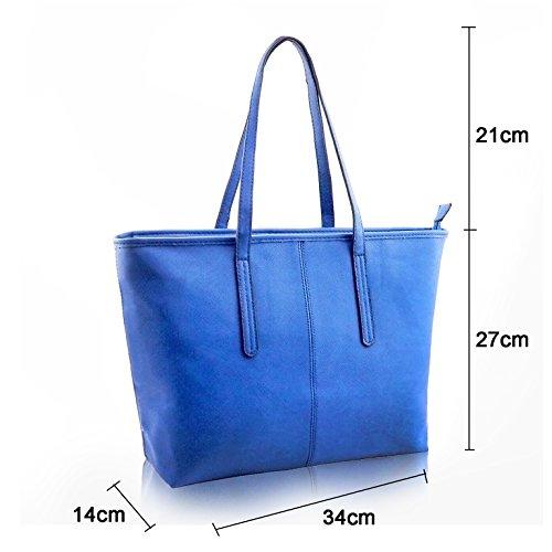 Jieway Damen Handtasche PU-Leder Große Kapelle Schultertaschen Taschen Blau