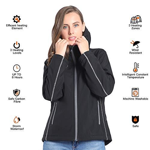CONQUECO Damen Beheizte Jacke Beheizbare Softshell Heiz Jacke Wasserdicht Winddicht warm mit Akku und Ladegerät zum Outdoor Arbeiten (S)