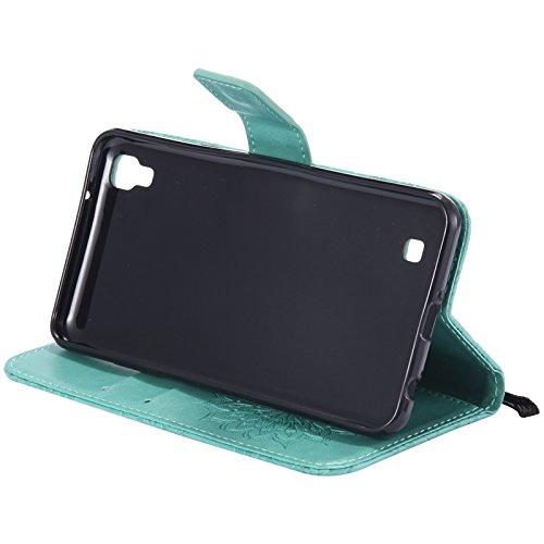 YHUISEN LG X Power Case, Sun Flower Druck Design PU Leder Flip Wallet Lanyard Schutzhülle mit Card Slot / Stand für LG X Power ( Color : Blue ) Green