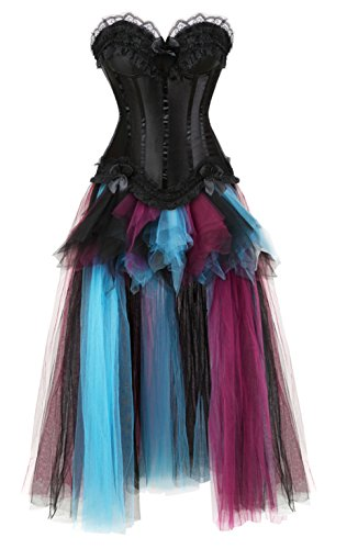 Grebrafan Damen Halloween Push Up Party Kleid Corsage und Lang Tutu-Rock aus Tüll (EUR(38-40) XL, Schwarz)