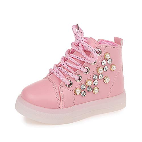 TuHao88 Baby Led Sneakers,Mädchen Pearl Crystal Light Luminous Laufsport Stiefel Schuhe
