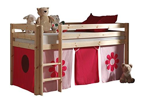 "VIPACK PICOHSZG1073 Spielbett Pino mit Textilset ""Pink Flower"", Maße 210 x 114 x 106 cm, Liegefläche 90 x 200 cm, Kiefer massiv natur lackiert"