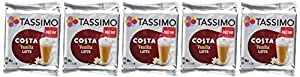 Find Tassimo Costa Vanilla Latte Coffee Pods (Case of 5, Total 80 pods, 40 servings) by JDE Coffee
