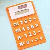 XIAOYANJIA Mini-Rechner Ultra-kleine tragbare niedliche Untersuchung Kleine faltende dünne Solar-Silikon-Soft-Tastatur-Rechner, Orange