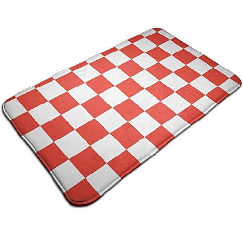DDOBY Memory Foam-Küchenteppich, Rutschfeste rot-weiß Karierte Komfort-Hochflor-Teppiche für Wohnzimmer, Schlafzimmer, Büro, schnell trocknende Eingangsmatte, 40 x 60 cm (Anti-Müdigkeit)