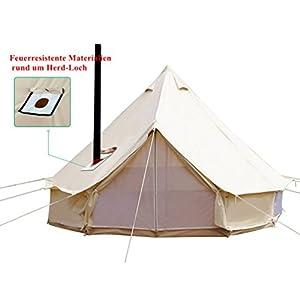Sport Tent-wasserdichte Campingzelt Familienzelt Baumwolle Tipi Zelt mit Herdheber/Lochrohrentlüftung Indiana Zelt 3-6M…