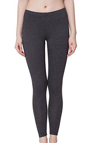 Damen Leggings Baumwolle Grau-Meliert-M