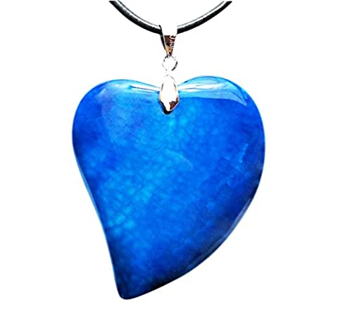 Puffy Heart Shaped Agate Pendant that is a Token for Love and Represents ones Imagination & Abundant Emotions, with 2 Necklace Cords 18