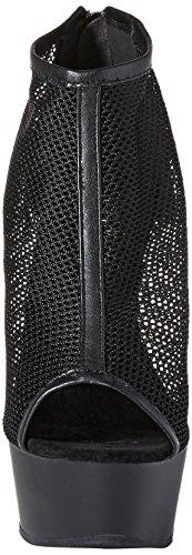 Pleaser Delight-600-12, Bottes Classiques femme Noir (Schwarz Blk Faux Leather-Fishnet/Blk Matte)
