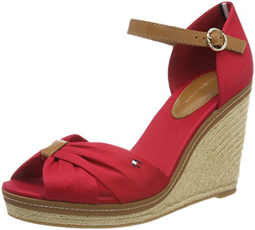 Tommy Hilfiger Damen Iconic Elena Sandal Espadrilles, Rot (Tango Red 611), 39 EU (Sandale Heel Strap Wedge)