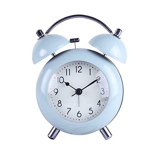 KIOio Despertador Creativo de Metal, Timbre Doble, sin tictac, luz Nocturna, Reloj de cabecera Manual eléctrico, Despertador Ruidoso (Color : Azul)