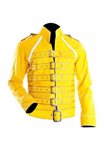 f6c5ddf364fe9 Freddie Mercury Concert Unisex Strap Yellow Synthetic Leather Jacket (M)