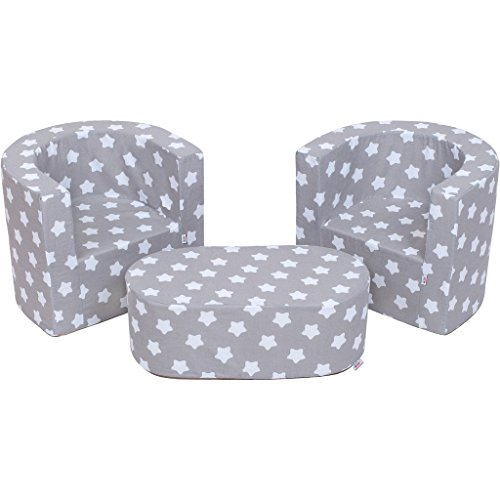 MuseHouse Mobilier Enfants 2 fauteuils Un Pouf Ensemble de pépinière Pliable la Chambre d