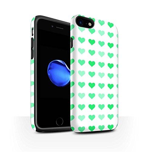 STUFF4 Matte Harten Stoßfest Hülle / Case für Apple iPhone 8 / Rot Muster / Herz Liebe Schablone Kollektion Grün