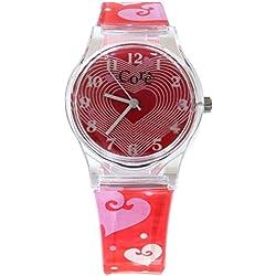 Base chicas diseño rojo esfera y correa de reloj plástica de corazones
