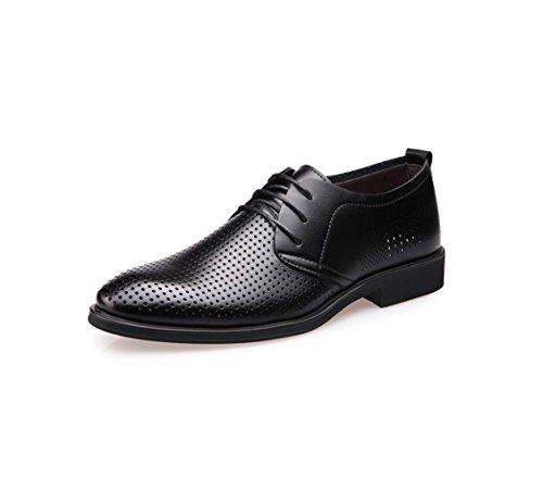 HYLM I pattini respirabili del cuoio genuino di cuoio genuino di estate calza i pattini di affari degli uomini dei sandali degli uomini coreani di modo Black