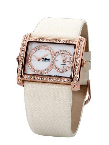 Perigaum 1972 Dual Time P-0803-RW Reloj de Pulsera para Mujeres Segundo Huso Horario