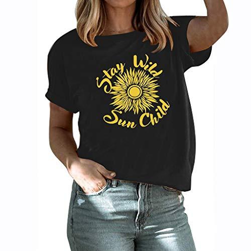 Geilisungren Damen Große Größen T-Shirt Kurzarm Sommer Shirts Lose Bluse Tops Causal Sonnenblume Brief Druck Oberteil Basic Tee für Frauen Mädchen